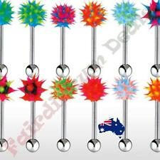 316L Surgical Steel Tongue Ring with Spiky Silicone Ball