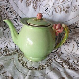 Royal Winton Grimwades  Teapot Tea Pot Vintage England Green Floral Decoration