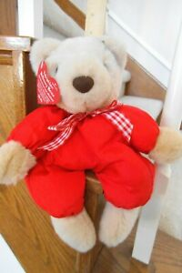 """NWT HALLMARK VALENTINE'S 12"""" BEAR BEIGE WEARING RED OUTFIT FREE SHIPPING"""