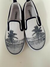 Gymboree Boys Shoes Size 13 Gray White Children Canvas Slip On Sneakers New