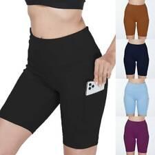 Women High Waist Gym Leggings Pocket Fitness Sports Running Shorts Pants h/d