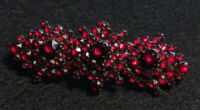 Antique Pave Rose Cut Garnet Victorian Brooch Pin Two 2 Inches Long