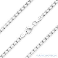 2.6mm Round Box Link Italian Chain Necklace .925 Italy Sterling Silver w Rhodium
