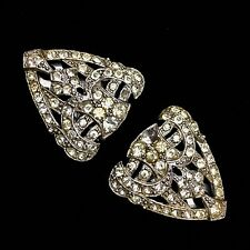 Pair of Vintage Art Deco Pave Rhinestone Crystal Silver Tone Dress Shoe Clips