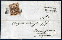1856 - Lettera da Reggio a Tremosine resa franca con cent.25 camoscio c. (n.4)
