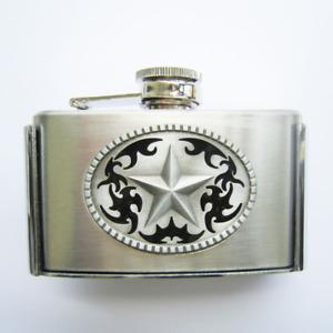 3oz. Western Star Stainless Steel Flask Metal Removable Concealed Belt Buckle