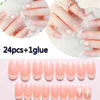 Natural Light Pink French Fake Nails Manicure Tool With Glue False Nail Tips