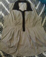 CUE Work Office Collard Blouse Shirt Maternity Pregnancy Black White Size 14