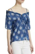 f020de40cc1ce8 Theory Tamalee Women's Blouse Small Blue Spot Ikat off Shoulder Button Top