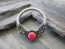 Bohemian Red Lab Opal Surgical Captive Ring Septum Tragus Cartilage 16G 14G