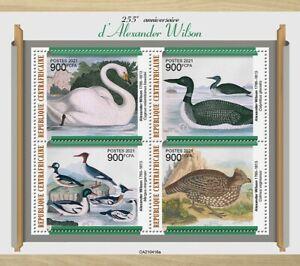 Central African Rep 2021 MNH Birds on Stamps Alexander Wilson Art Swans 4v M/S