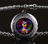 Autism Ribbon on Heart Glass Gun Black Chain Locket Pendant Necklace