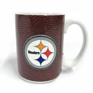 NFL Football Pittsburgh Steelers Mug with 3D Raised Pewter Metal Emblem, 15 oz