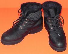 London Fog Snow Rain Winter Boots Black Faux Fur Lined Womens 7M Abby