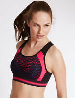 NEW M&S MARKS SPENCER HIGH IMPACT INFIN8 SPORTS BRA BLACK NON WIRED 38 B C D