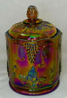 """Indiana * HARVEST GRAPES*MARIGOLD AMBER CARNIVAL* 7"""" SMALL CANISTER W/LID*"""