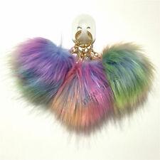 "Multicolor Fur Pom KeyChain Bag Charm Fluffy Puff 4.5"" Ball Car Pendant Sale"