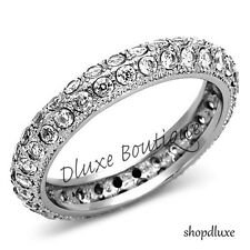 1.85 CT ROUND CUT AAA CZ STAINLESS STEEL ETERNITY WEDDING RING BAND SIZE 5-10