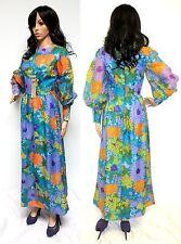 ORIGINAL 60'S-70'S BOHO HIPPIE LIGHTWEIGHT FLORAL MAXI PARTY HOSTESS DRESS XS