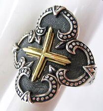 Scott Kay 6 (5.75) Silver Ring Fleur De Lis 18K Gold Cross Women Men Gift $450