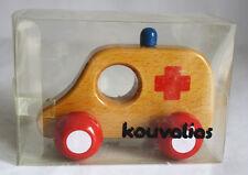 ULTRA RARE VINTAGE KOUVALIAS HOSPITAL CAR 1 WOODEN GREEK TOY GREECE NEW IN BOX !