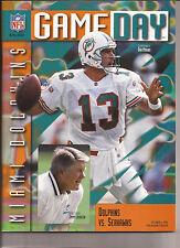 MIAMI DOLPHINS OCT 6 1996 VS. Seahawks GAME DAY MAGZINE Dan Marino & Johnson