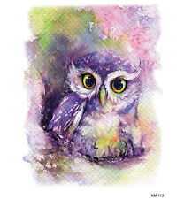 Purple Pink Temporary Tattoo Stickers Body Art Waterproof Big Owl Watercolor