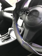 FOR FORD FIESTA 02+ GREY PERFORATED LEATHER STEERING WHEEL COVER BLUE DOUBLE STT