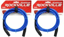 2 Rockville RCXFM10P-BL Blue 10' Female to Male REAN XLR Mic Cable 100% Copper
