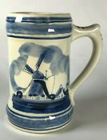 """Vintage Delft Blue And White - Hand Painted Mug - Holland Windmill - 5""""- Glazed"""