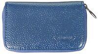 Geldbeutel aus Leder für Damen und Herren Geldbörse klein blau Portmonee NEU