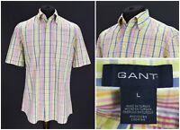 Mens GANT Liberty Bell Poplin Shirt Regular Fit Short Sleeve Multicolor Size L