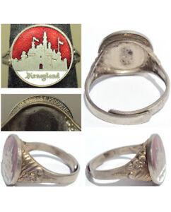 Rare Vintage Disneyland Red Enameled Souvenir Ring Licensed & Copyrighted