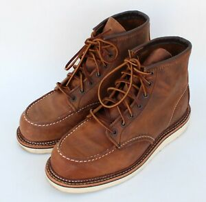 Red Wing Heritage 1907 Copper Rough Tough Leather Moc Toe Boots Size 9 D