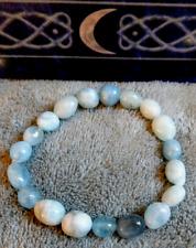 aquamarine crystal healing mini tumblestone bead bracelet
