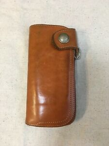 Red Moon Long Wallet leather brown 1 button