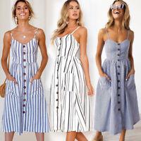 UK Womens Summer Swing Midi Dress Beach Button Striped Ladies Holiday Jumper