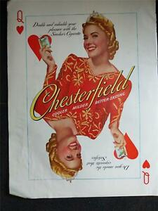 Vintage 1940 CHESTERFIELD CIGARETTE QUEEN OF HEARTS Magazine Print Ad