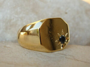Solid 14k Gold Natural Black Diamond Partywear Engagement Boys Mens Ring Jewelry