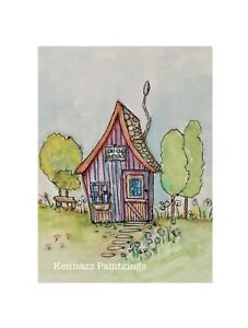 Old Crooked House Original Painting Watercolour & Ink By Kenna Unframed 12x16cm