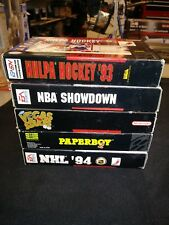 Set of 5, Complete, SNES Games, W/ Booklets, Boxes, Dust Covers, and Game.