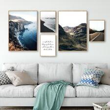 Cartel De Lona Arte de Pared de carretera de montaña paisaje nórdico Impresión Decoración de la sala de estar