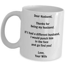 Funny Husband Gift Coffee Mug Birthday Anniversary Valentines Christmas Day Cup
