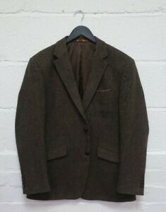 Skopes Mens Brown Jacket Tweed Wool Size 42R Tailored Fit Heritage Collection