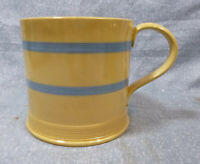Antique Large Sized Yellow Ware Mug with Blue Stripes & Applied Handle VGC
