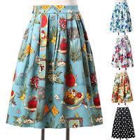 Pretty Summer Short Women Floral Print Mini Skater Skirt Vintage 50s Full Circle
