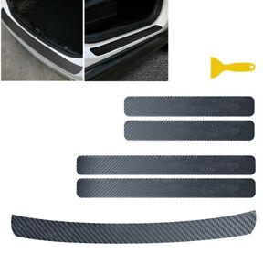 Carbon Fiber Car Door Sill Scuff Cover Rear Guard Plate Sticker Anti Scratch 5x