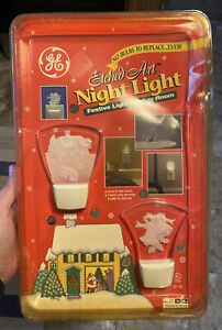 GE Etched Art Night Light NOS New Electric No Bulb Plug In Festive Christmas