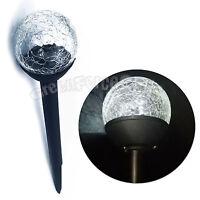 3 PCS Solar Powered Crackle Glass Ball LED Light Lamp For Garden Yard Lawn Path