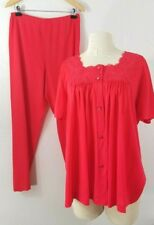 Vtg Lorraine Pajama Set Size 40 Red Top Pants Lace Sexy Nightgown Lounge Sleep